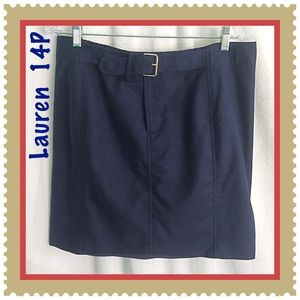 Lauren / Size 14P / Navy Blue Cotton Mini Skirt